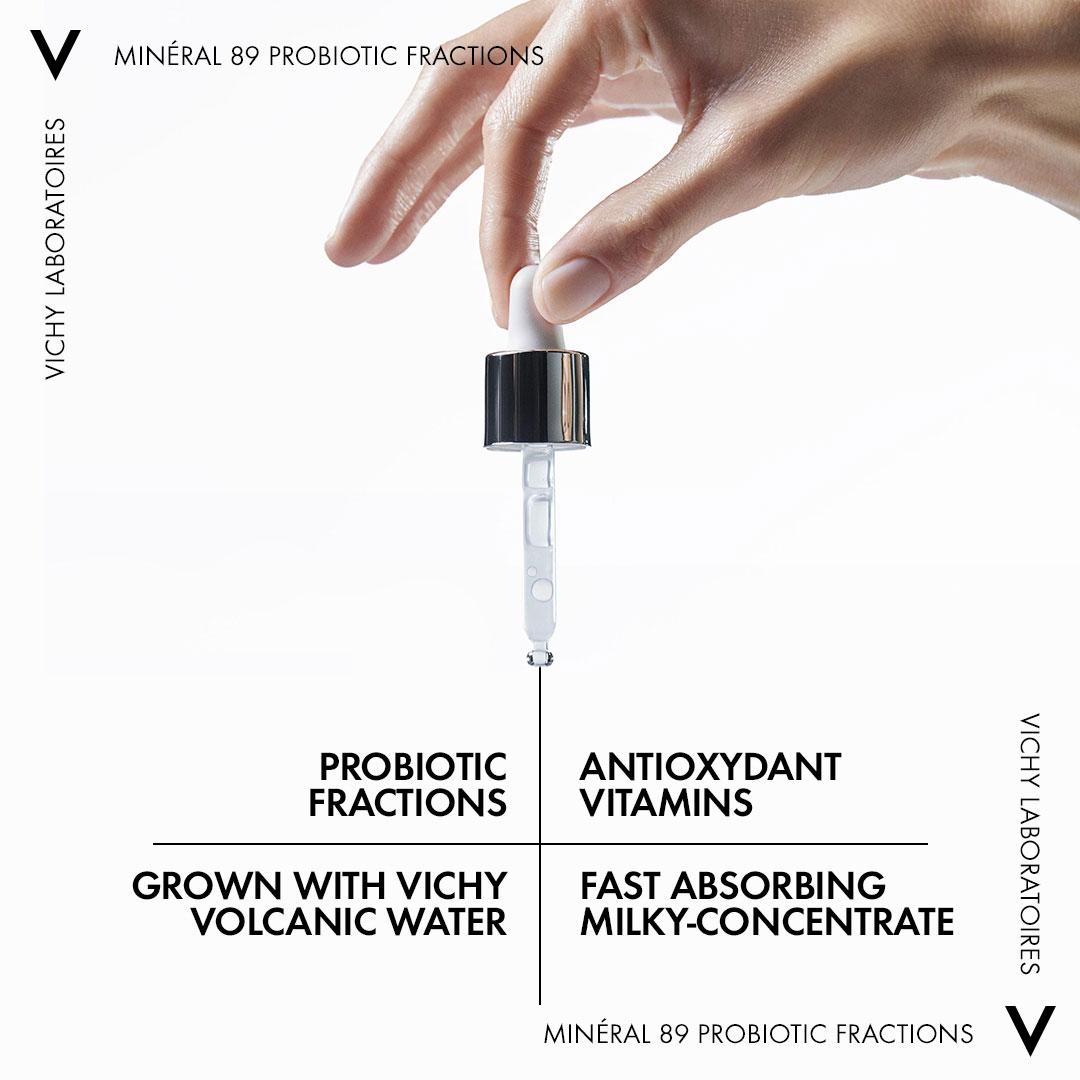 Tinh Chất Vichy Probiotic Minéral 89 Probiotic chứa 5% các phân đoạn Probiotic có tác dụng sửa chữa đồng thời kích thích khả năng phòng vệ tự nhiên của da.