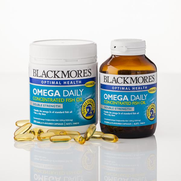 Viên Uống Dầu Cá BLACKMORES Omega Daily Concentrated Fish Oil duy trì sức khỏe tổng thể của tim – da – mắt – não