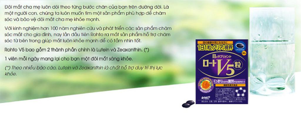 Viên Uống Hỗ Trợ Làm Sáng Mắt Rohto V5 30 Viên chứa Lutein và Zeaxanthin