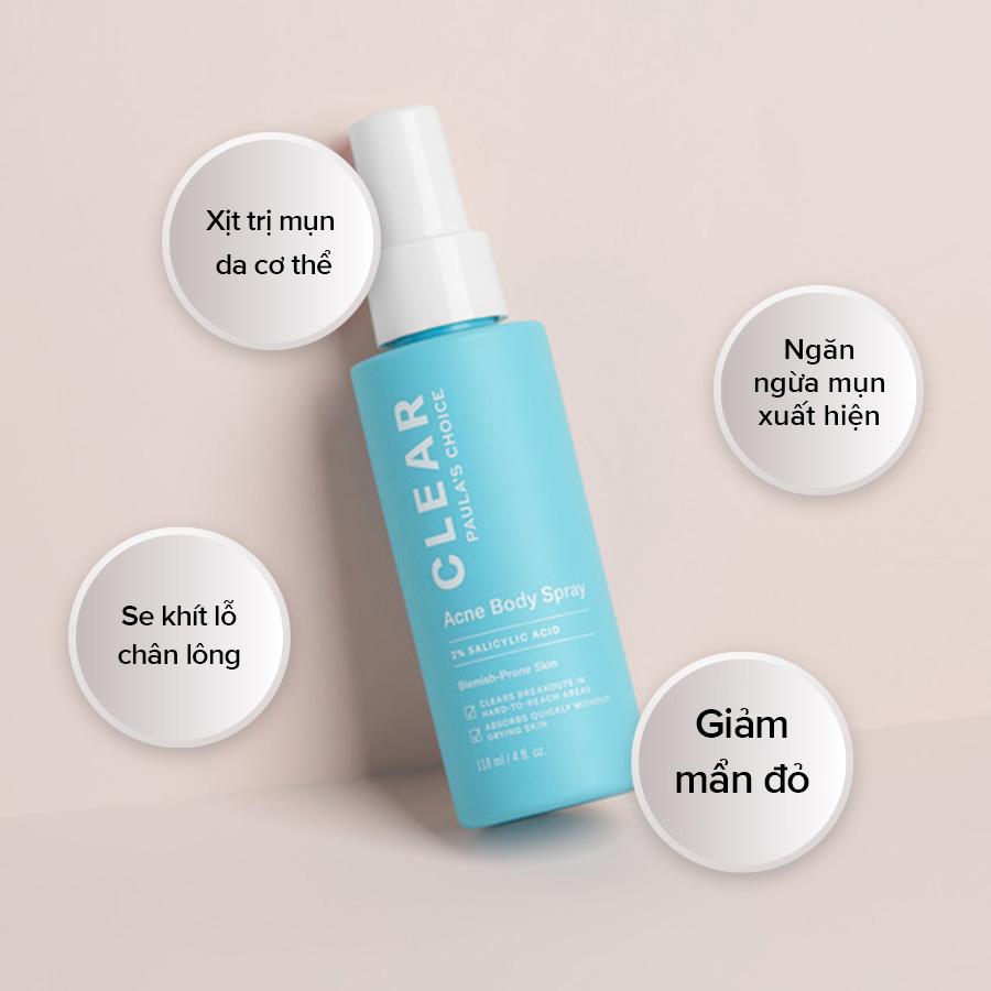 Xịt Giảm Mụn Paula's Choice 2% BHA Cho Cơ Thể Clear Acne Body Spray