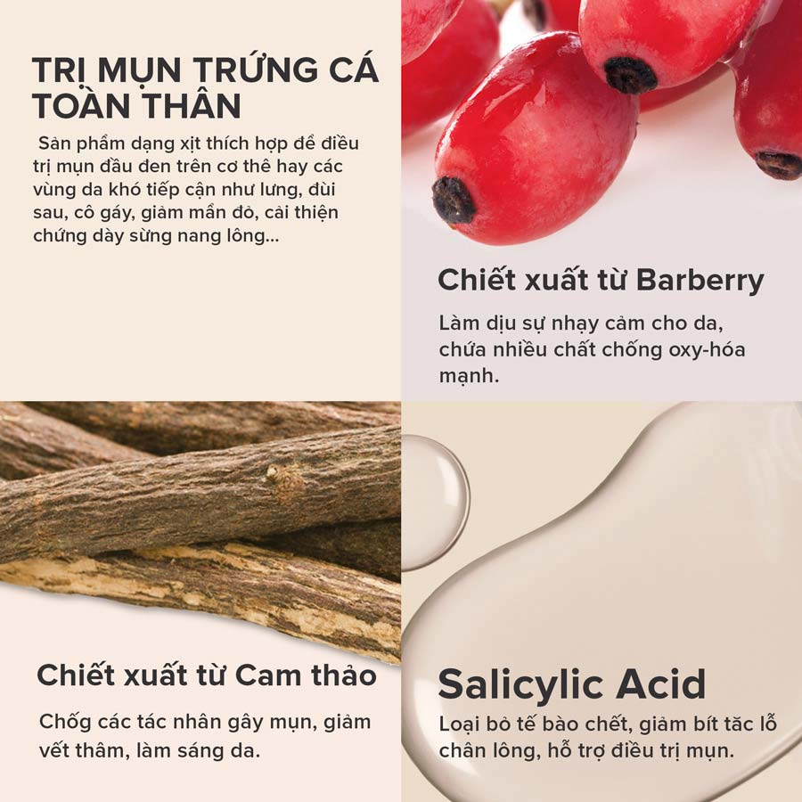Xịt Giảm Mụn Paula's Choice 2% BHA Cho Cơ Thể Clear Acne Body Spray 118ml