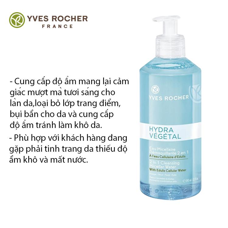 Nước Tẩy Trang Và Cân Bằng Độ Ẩm Yves Rocher 390ml cung cấp độ ẩm và làm sạch da