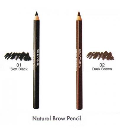 Chì Kẻ Chân Mày Silky Girl Màu Đen 01 Soft Black Natural Brow Pencil