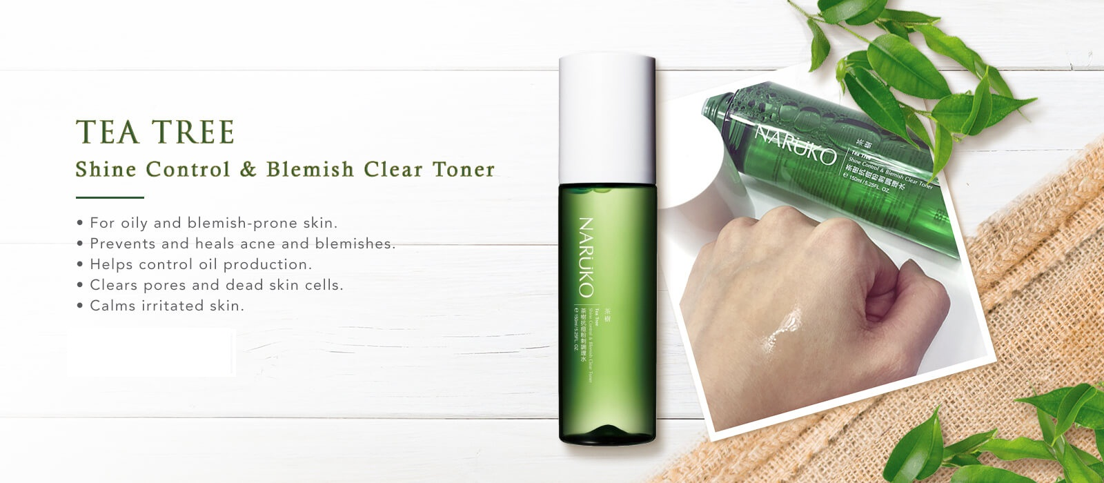 Nước Hoa Hồng Naruko Tea Tree Shine Control and Blemish Clear Toner 150 ml
