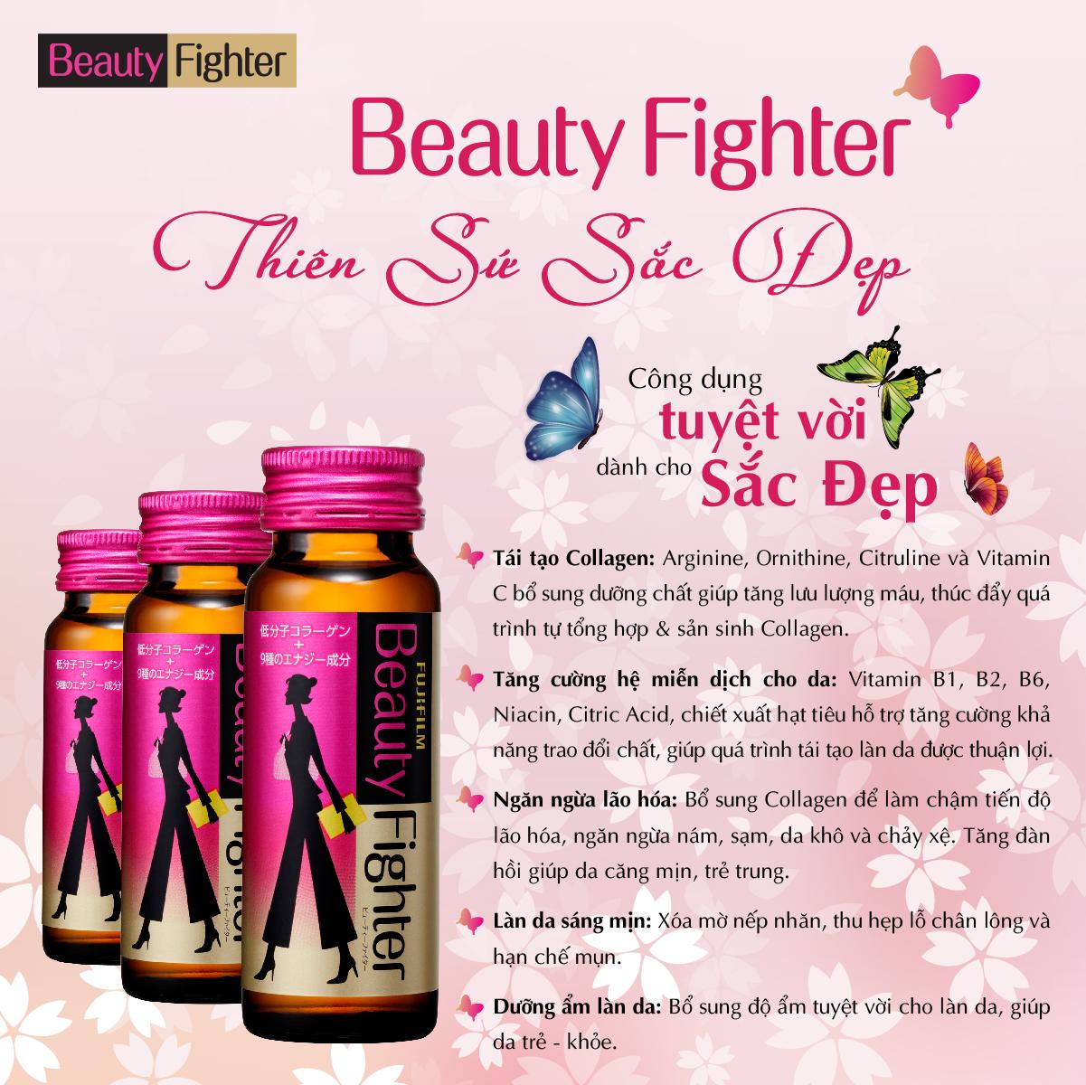 ASTALIFT Beauty Fighter Collagen giúp tái tạo Collagen, tăng cường hệ miễn dịch cho da, ngăn ngừa lão hóa, dưỡng ẩm và làm da sáng mịn.