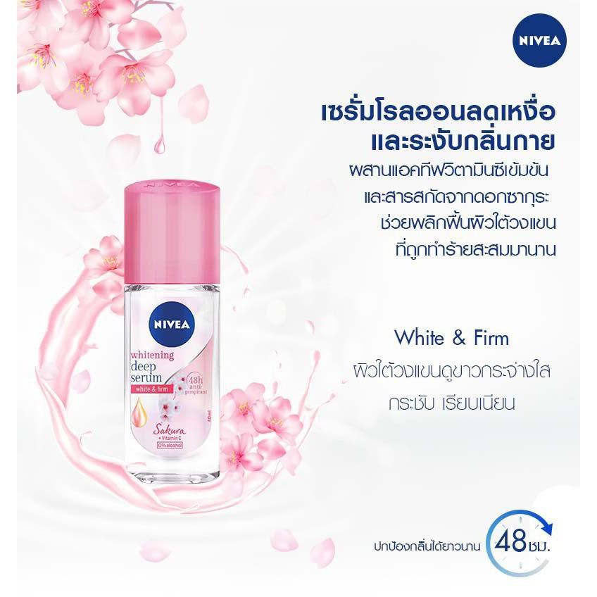 Lăn Ngăn Mùi Sáng Mịn Hương Hoa Anh Đào Nivea Whitening Deep Serum Sakura 40ml