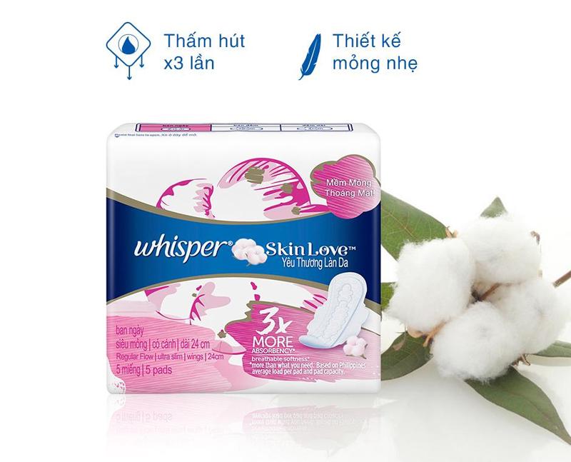 Băng Vệ Sinh Whisper Skin Love Mặt Bông Siêu Mỏng Cánh Ban Ngày Gói 5 Miếng (24cm) Skin Love Day Ultra Slim Regular Flow 5 Pads thấm hút tốt