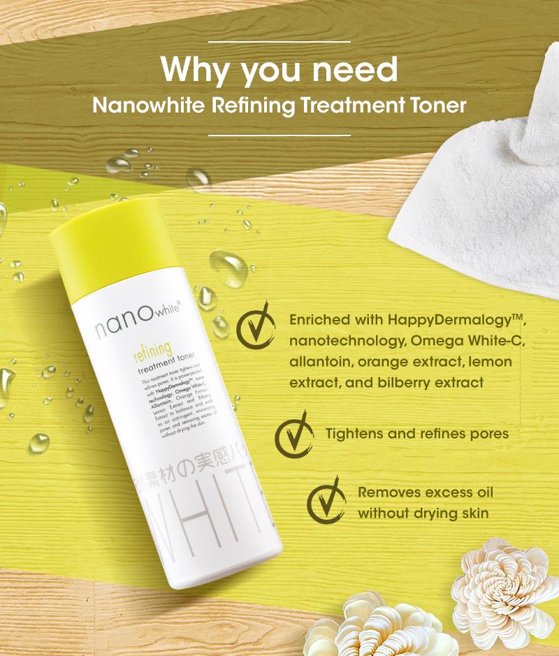 Nước Hoa Hồng Dưỡng Da Nano White 200ml Refining Treatment Toner thích hợp cho mọi làn da