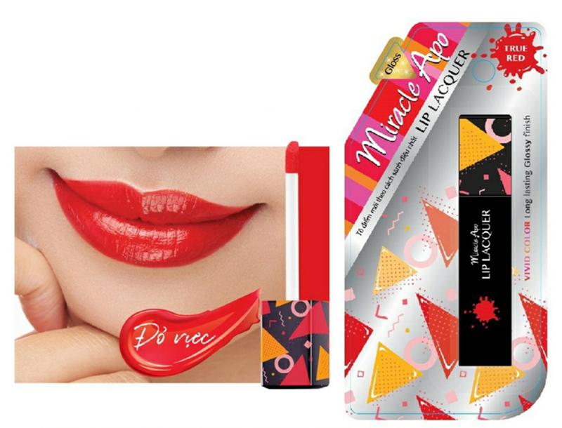 Son Kem Dạng Bóng Miracle Apo Lip Lacquer 3ml màu đỏ