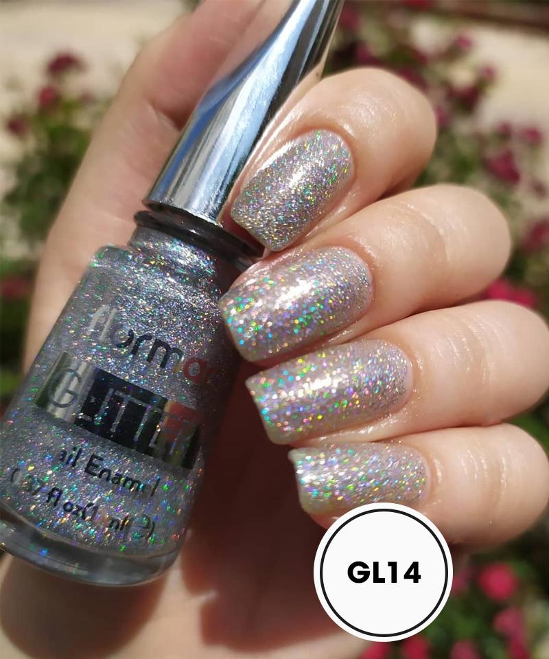 Sơn Móng Tay Kim Tuyến Flormar Màu Bạc GL14 Holographic Silver Glitter Nail Enamel
