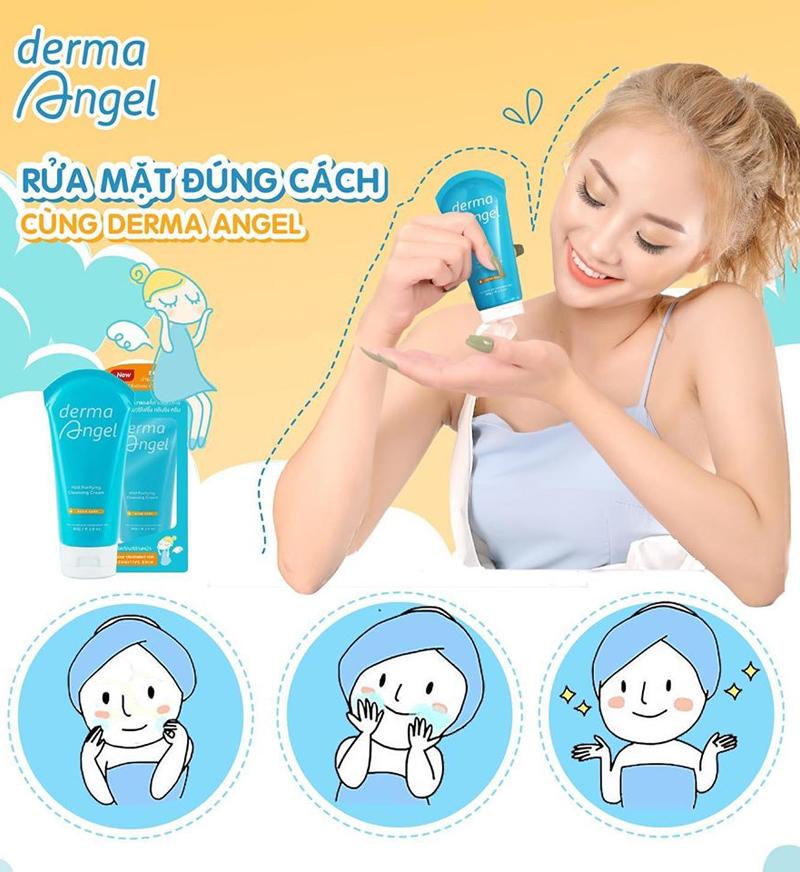 Sữa Rửa Mặt Ngừa Mụn Derma Angel Mild Purifying Cleansing Cream 80g cho mọi làn da