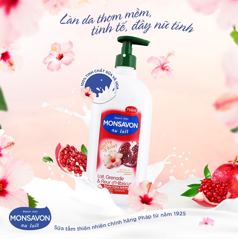 Sữa Tắm Monsavon Chiết Xuất Sữa, Lựu Và Hoa Dâm Bụt Au Lait Douche Crème Hydration 750ml