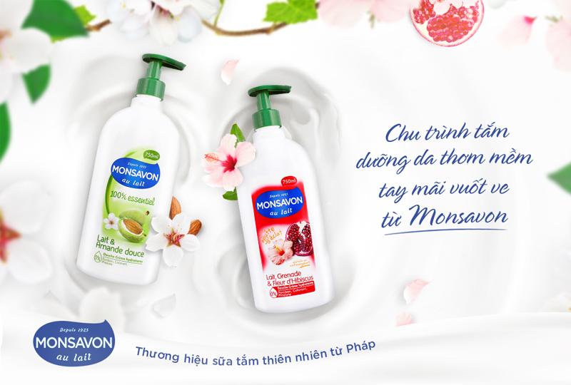 Sữa Tắm Monsavon Chiết Xuất Sữa, Lựu Và Hoa Dâm Bụt Au Lait Douche Crème Hydration 750ml nhẹ nhàng