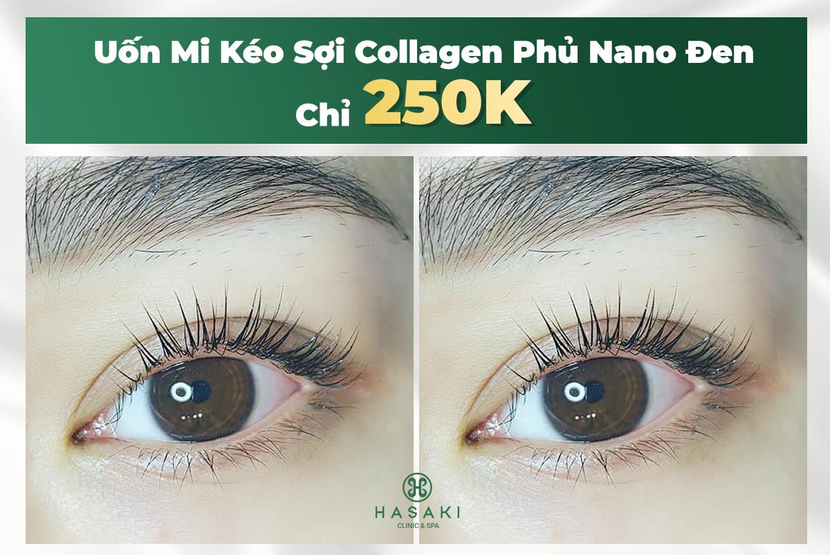 Uốn Mi Kéo Sợi Collagen Phủ Nano Đen Công Nghệ Hàn Quốc
