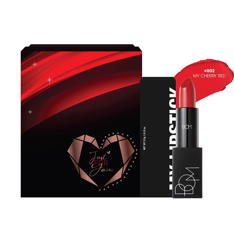 Hộp quà son B.O.M #802 My Cherry Red Màu Đỏ Cam 3.5g 1