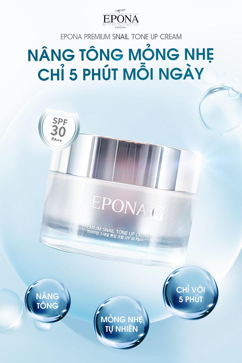 Kem Dưỡng Epona Premium Snail Tone Up Cream SPF 30/ PA++ Sáng Da, Nâng Tông Chiết Xuất Ốc Sên 50ml - 1