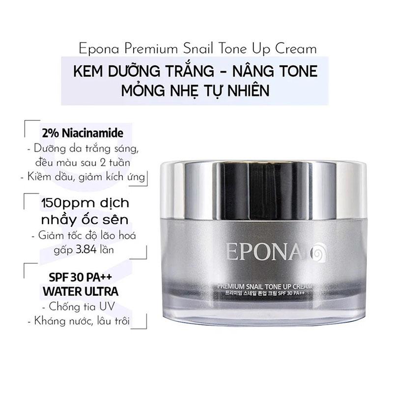 Kem Dưỡng Epona Premium Snail Tone Up Cream SPF 30/ PA++ Sáng Da, Nâng Tông Chiết Xuất Ốc Sên 50ml - 2