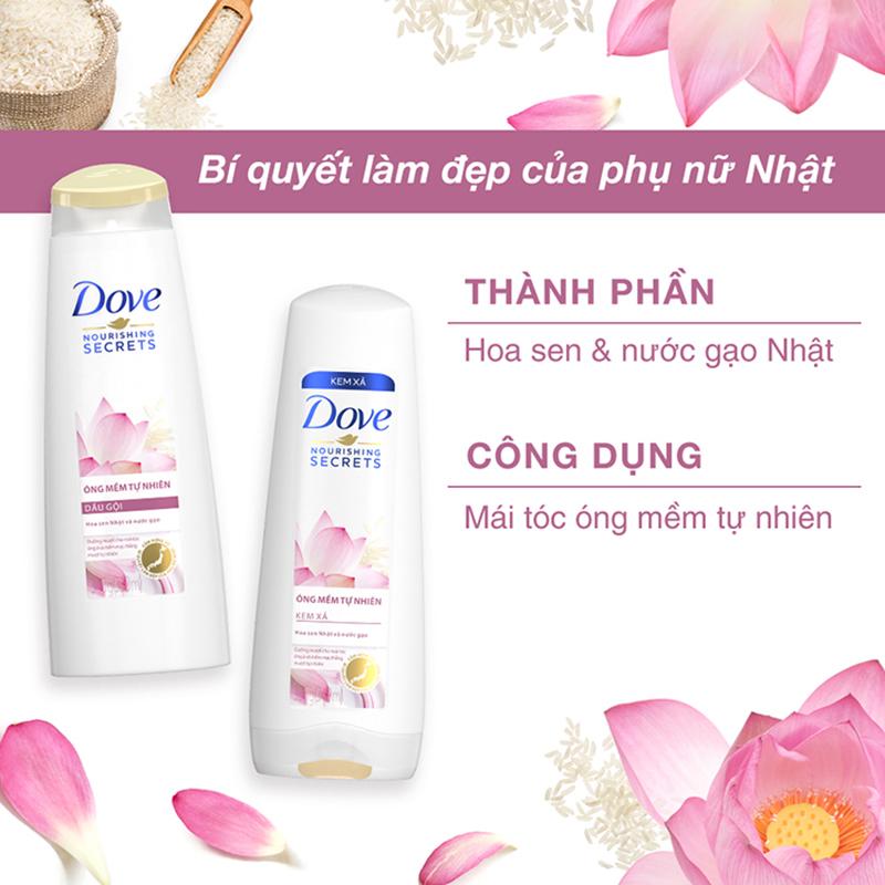 Kem xả Dove óng mềm tự nhiên từ hoa sen và nước gạo 320g - 1