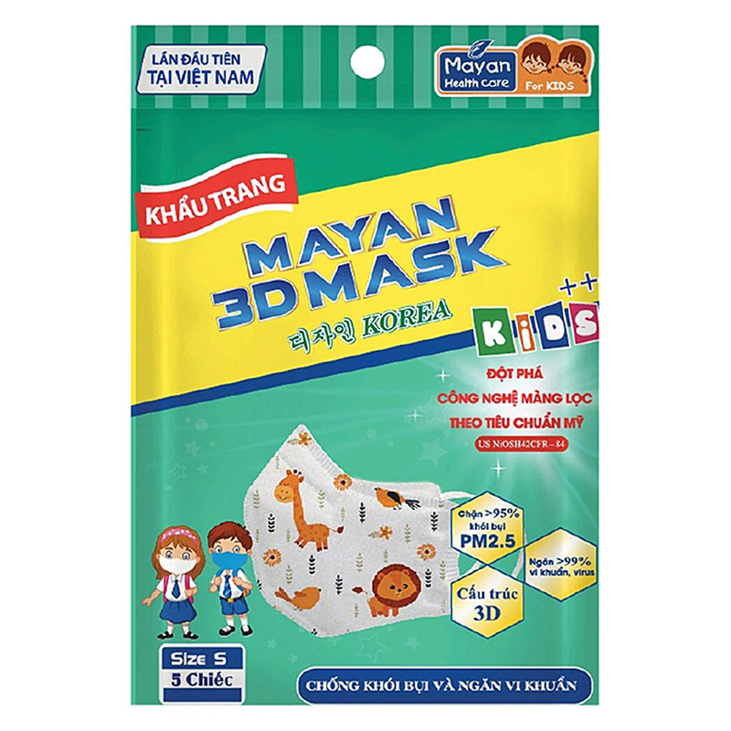 Khẩu Trang Mayan 3D Pm2.5 Kids++ 5 Cái (Màu Ngẫu Nhiên) - 1