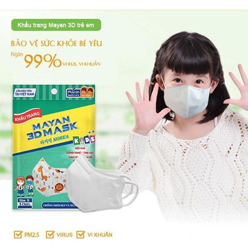 Khẩu Trang Mayan 3D Pm2.5 Kids++ 5 Cái (Màu Ngẫu Nhiên) - 2