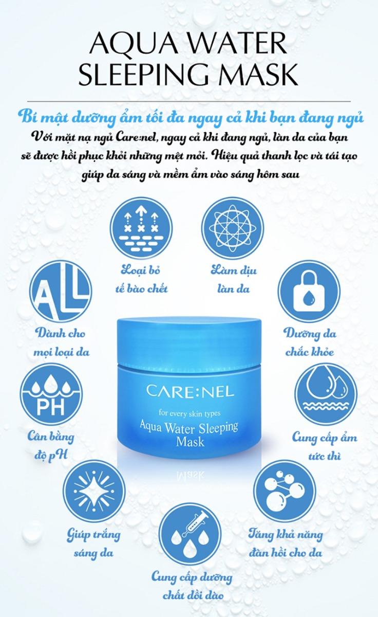Mặt nạ ngủ CARE:NEL Aqua Water Sleeping Mask cấp nước, dưỡng ẩm da 15g - 02