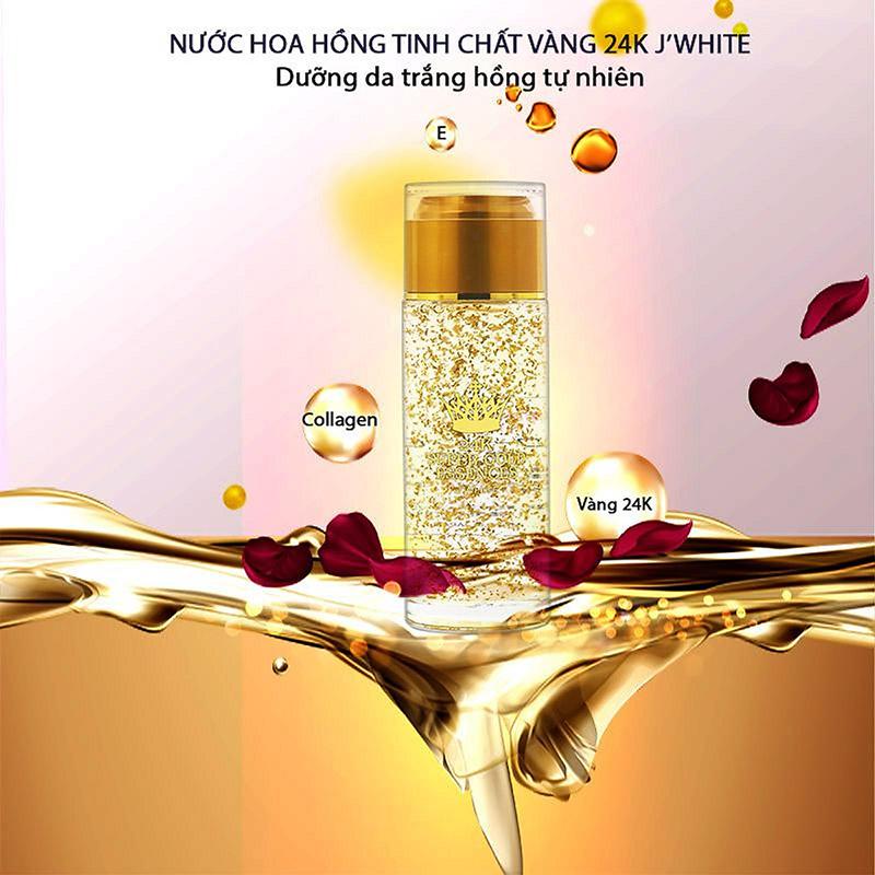 Nước hoa hồng J'White tinh chất vàng 24K ngăn lão hóa 120ml - 1