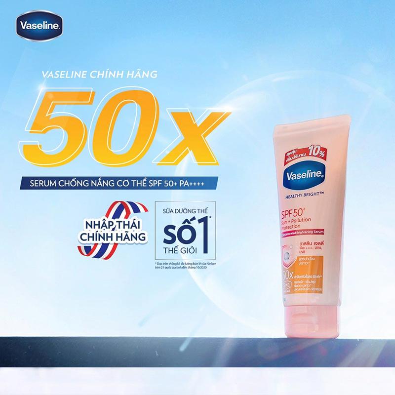 Sữa dưỡng thể Vaseline dưỡng sáng & chống nắng da Sun + Pollution Protection 50X SPF50+/PA++++ 03