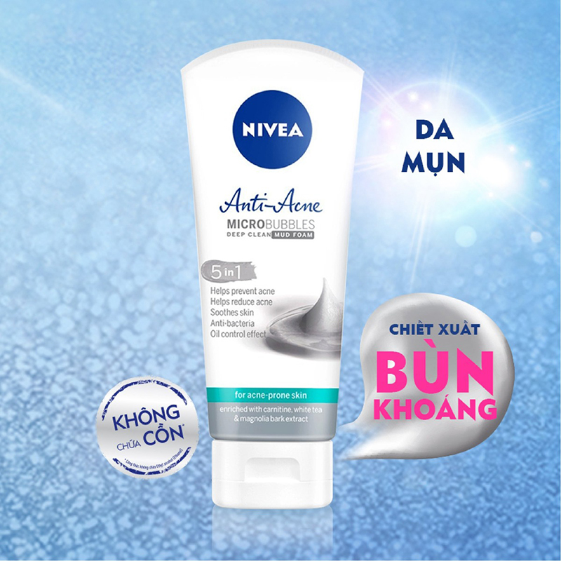 Sữa Rửa Mặt Tẩy Trang Ngừa Mụn Nivea Acne Care Make Up Clear Mud Foam - 01