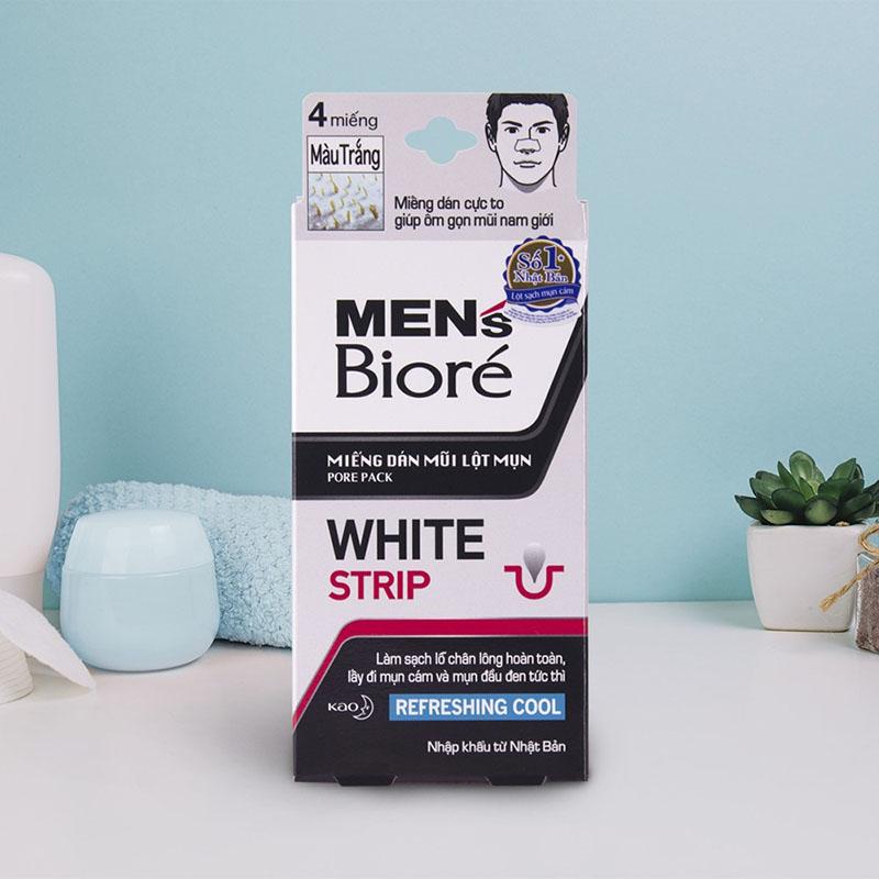 Miếng Dán Mũi Lột Mụn Men's Bioré Pore Pack White Strip Refreshing Cool - 1