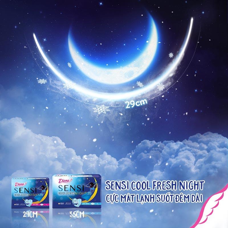 Băng Vệ Sinh Diana Ban Đêm Mát Lạnh Sensi Cool Fresh Night 35cm 3 Miếng