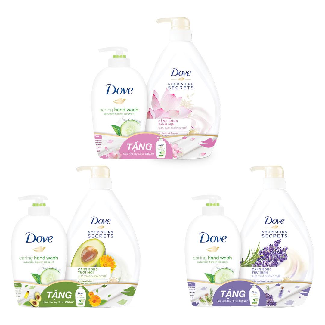Bộ Đôi Dove Sữa Tắm Căng Bóng 530g & Nước Rửa Tay 250ml