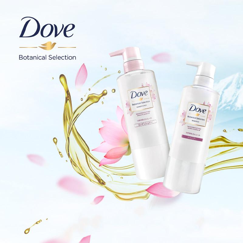 Dầu Gội Dove Giúp Tóc Bóng Mượt Chiết Xuất Hoa Sen Và Dầu Jojoba Botanical Selection Shampoo with Lotus Extract & Jojoba Oil 500g