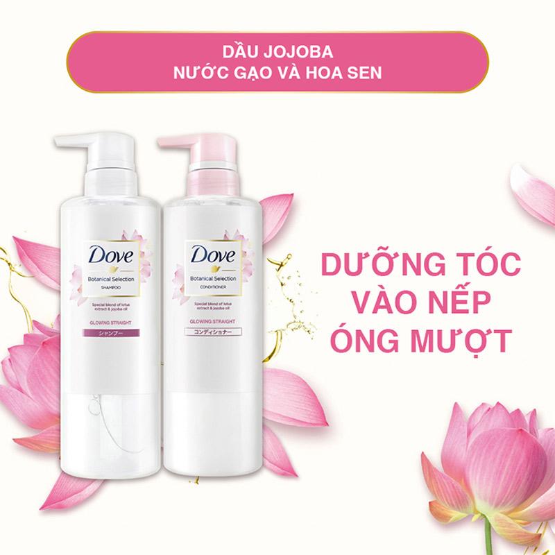 Bộ Gội Xả Dove Bóng Mượt Từ Hoa Sen Và Dầu Jojoba Jojoba Botanical Selection 500gx2