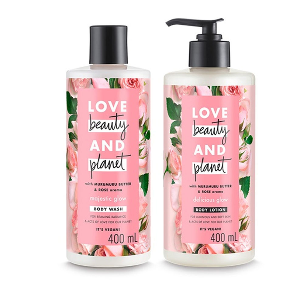 Bộ Sữa Tắm + Dưỡng Thể Love Beauty And Planet Sáng Da Majestic Glow Body Wash and Delicious Glow Body Lotion