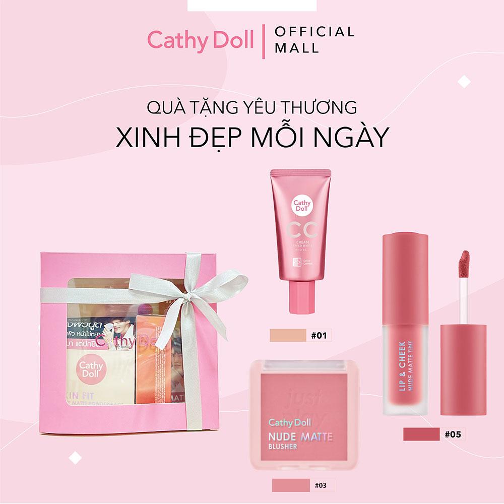Bộ Trang Điểm Cathy Doll Kem Nền Màu 01 + Má Hồng Màu 03 + Son Kem Màu 05
