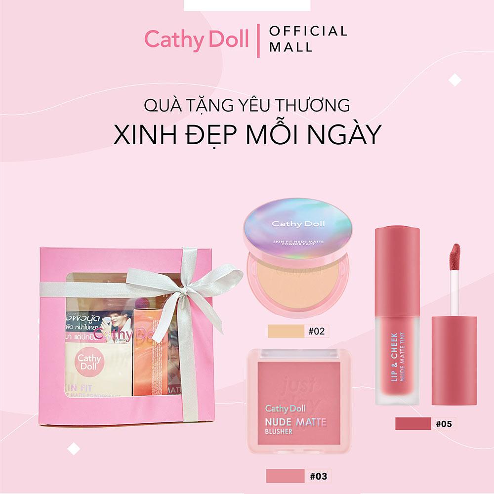 Bộ Trang Điểm Cathy Doll Phấn Nền Phủ Màu 02+ Má Hồng Màu 03 + Son Kem Màu 05