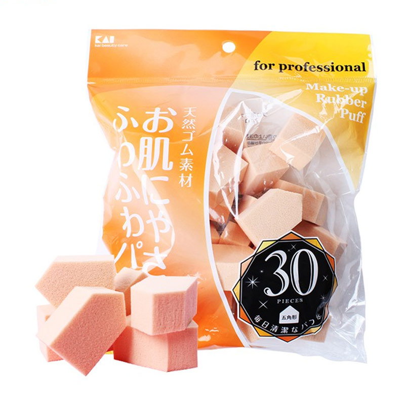 Bông Phấn Trang Điểm KAI Dùng Cho Kem Nền For Professional Make-Up Rubber 30 Cái
