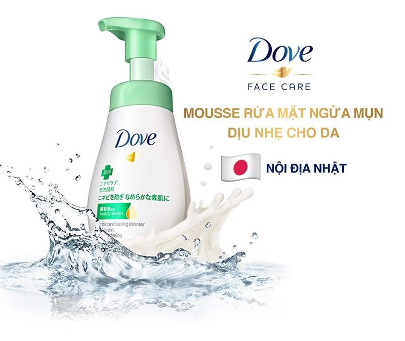 Bọt Rửa Mặt Dove Giúp Ngăn Ngừa Mụn Dịu Nhẹ Beauty Serum Pimple Care Foaming Cleanser Mild To Skin Less Tight Feeling 160ml