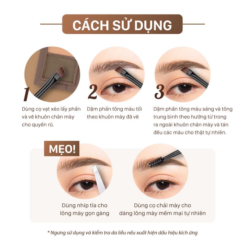Hướng dẫn sử dụng Bột Vẽ Chân Mày Cathy Doll Trio Eyebrow Kit 1g x 3 Ô