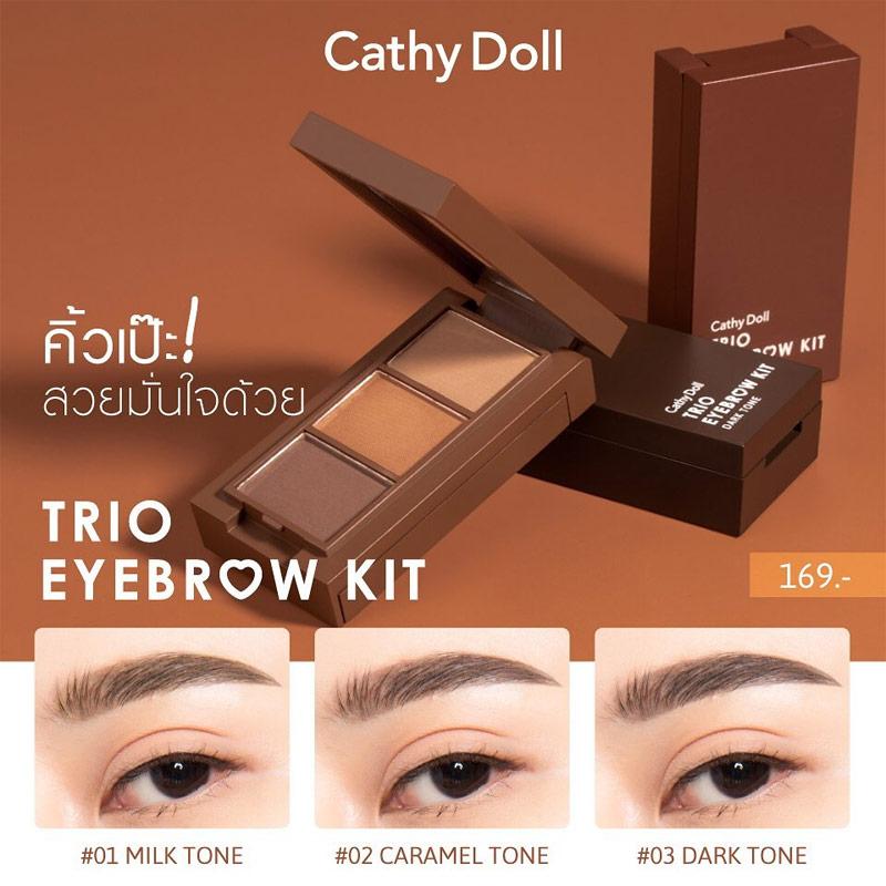 Bảng màu Bột Vẽ Chân Mày Cathy Doll Trio Eyebrow Kit 1g x 3 Ô