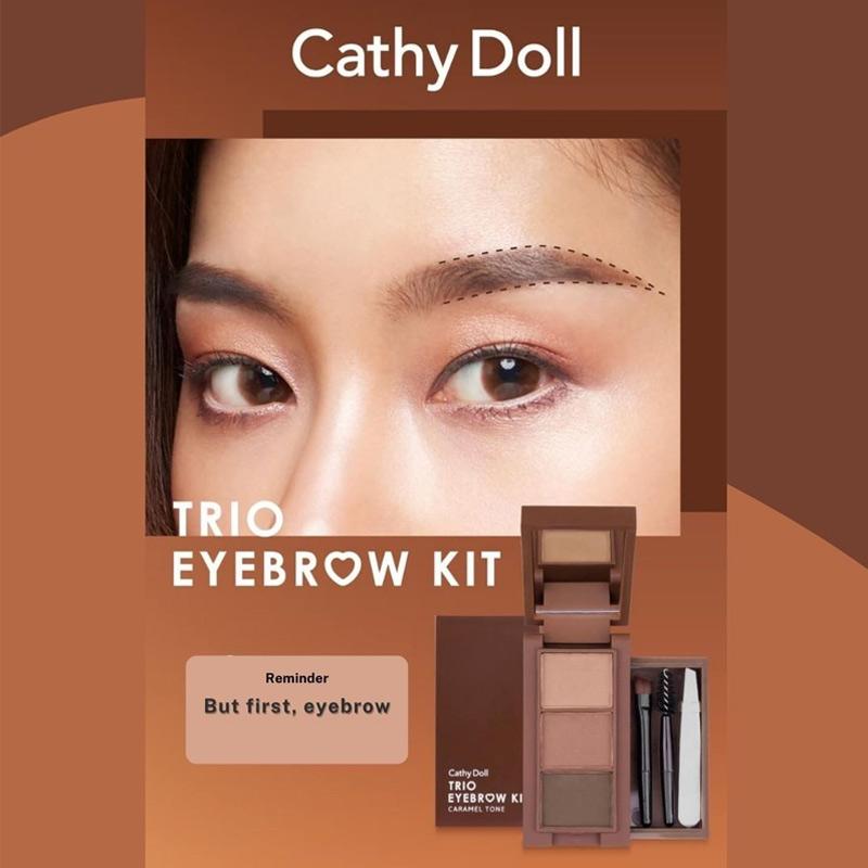 Bột Vẽ Chân Mày Cathy Doll Trio Eyebrow Kit 1g x 3 Ô Hasaki
