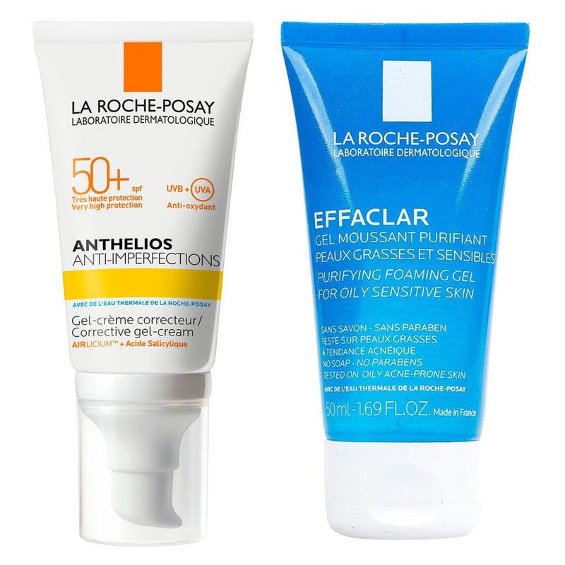 Combo La Roche-Posay Kem Chống Nắng Da Dầu Mụn 50ml + Gel Rửa Mặt Da Dầu 50ml