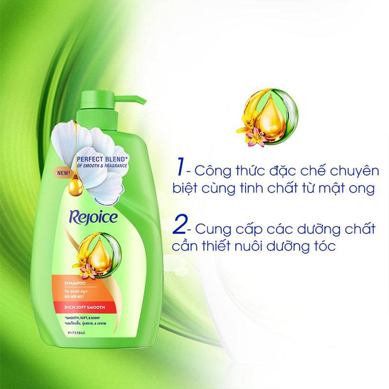 công dụng Dầu Gội Siêu Rejoice Mềm Mượt Rich Soft Smooth Shampoo