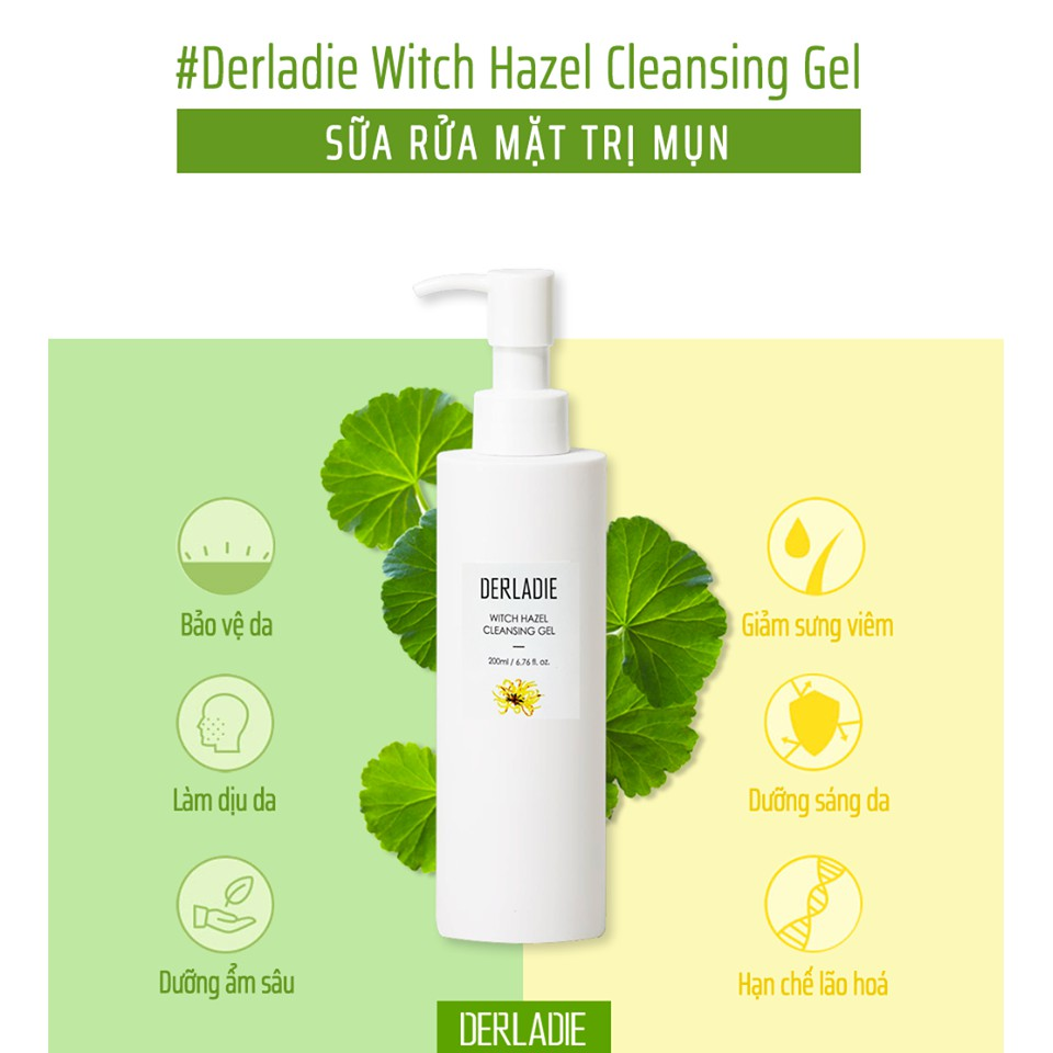 Gel Rửa Mặt Chiết Xuất Cây Phỉ Derladie Witch Hazel Cleansing Gel