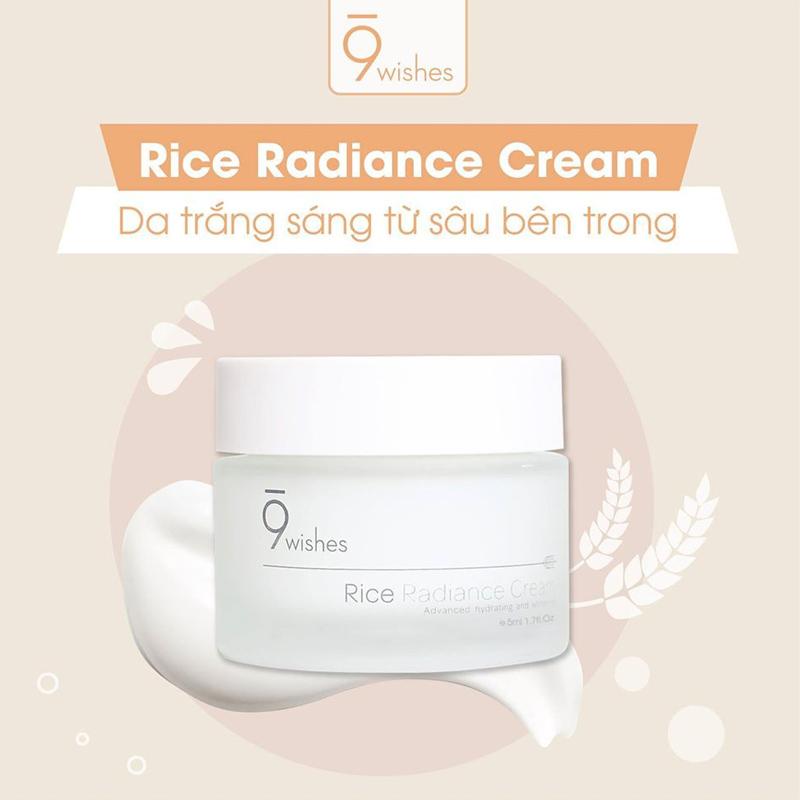 Kem Dưỡng 9Wishes Chiết Xuất Gạo Cấp Ẩm & Làm Sáng Da Rice Radiance Cream 50ml
