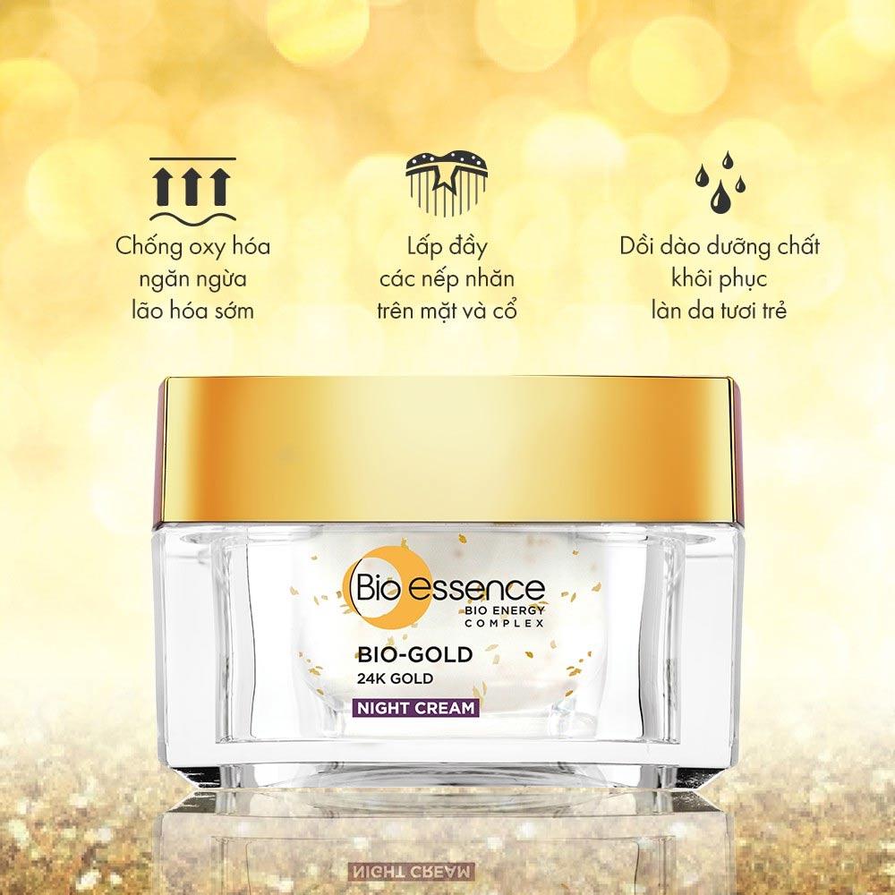 Công dụng Kem Dưỡng Bio-essence Vàng 24K Ngừa Lão Hóa Ban Đêm 40g