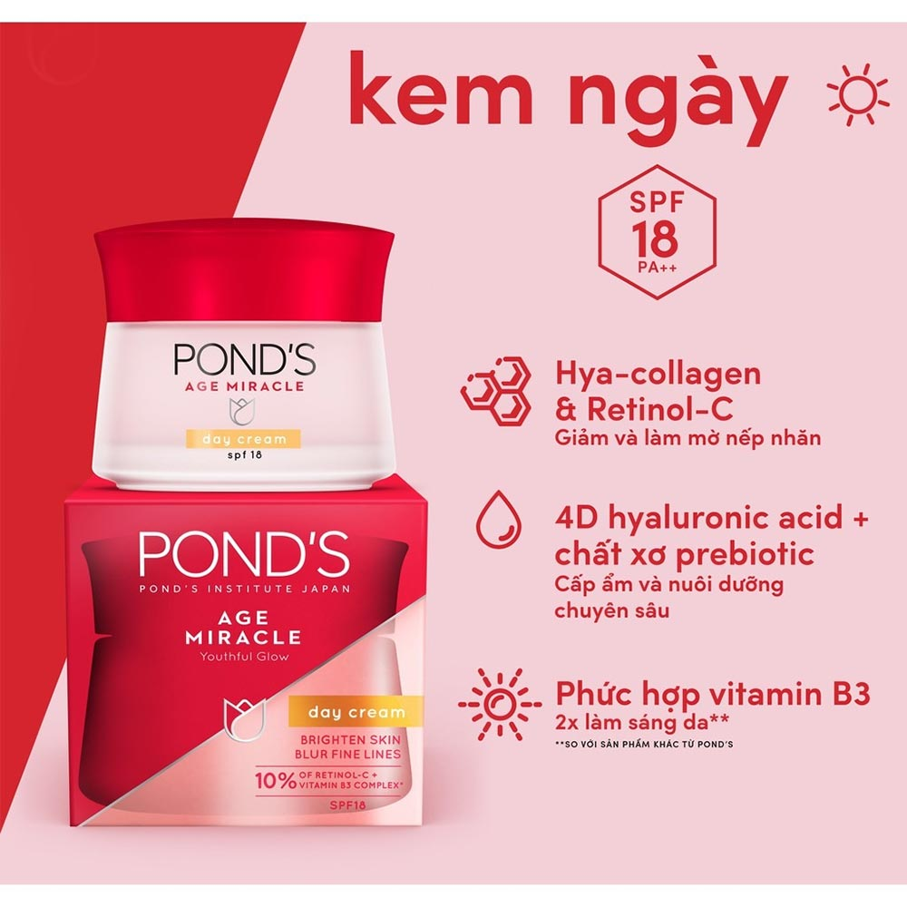 Kem Dưỡng Da Pond's Age Miracle Day Cream SPF 18 PA++ 50g