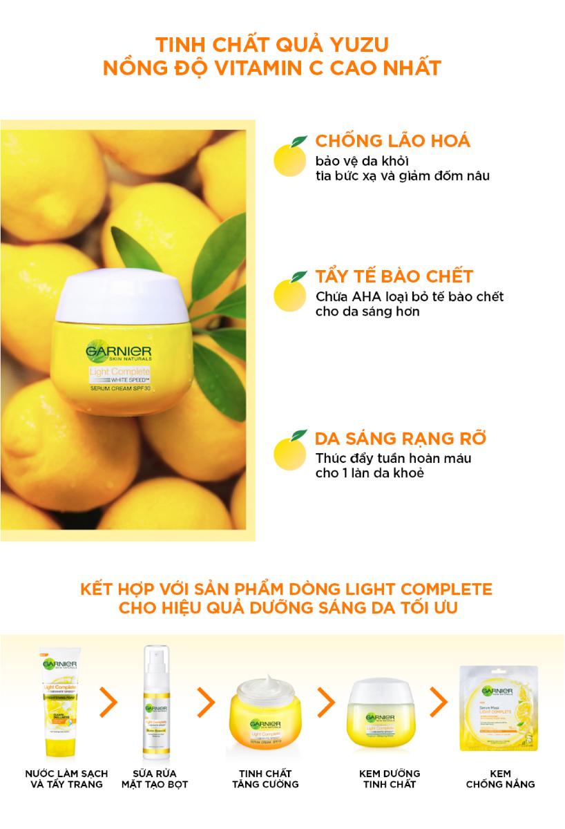 Kem Dưỡng Garnier Light Complete Speed Serum Cream SPF30