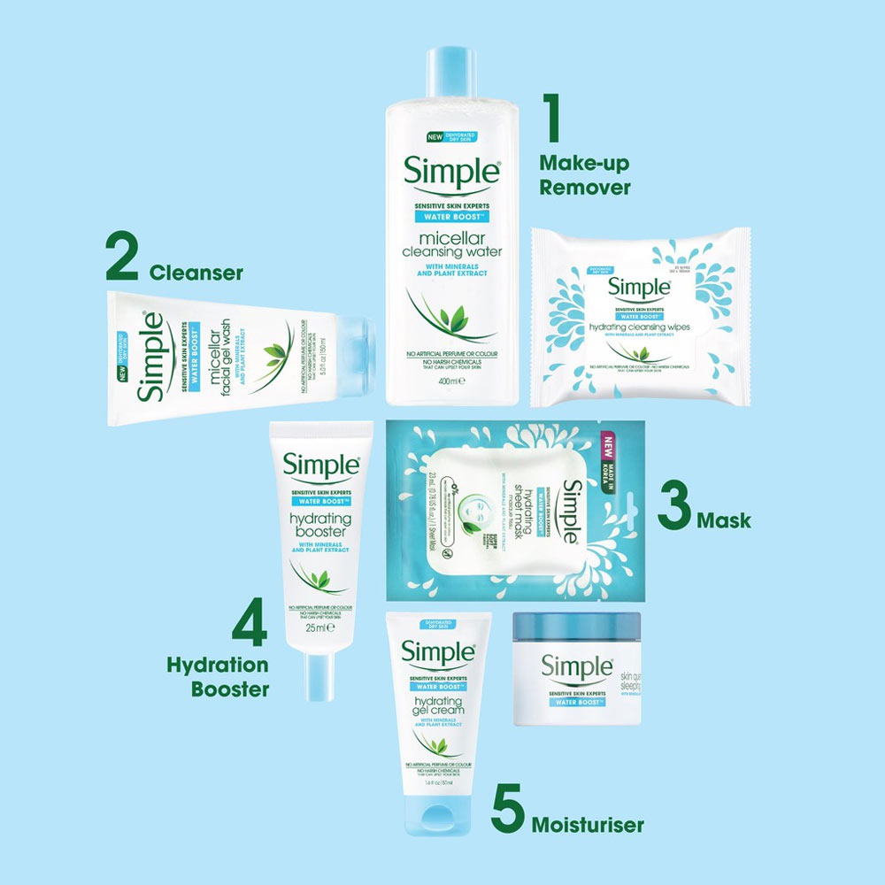 Khăn Giấy Tẩy Trang Simple Water Boost Hydrating Cleansing Wipes 25 Miếng
