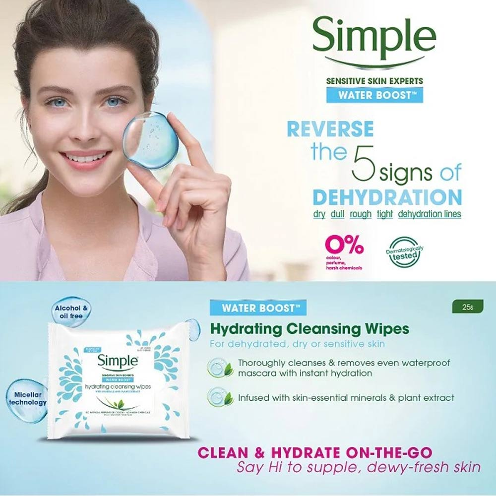 Khăn Giấy Tẩy Trang Simple Water Boost Hydrating Cleansing Wipes Removes Makeup 25 Miếng